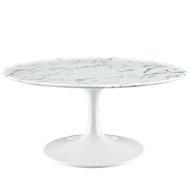 Modway Furniture Lippa 36 Inch Artificial Marble Coffee Table EEI-1650-WHI