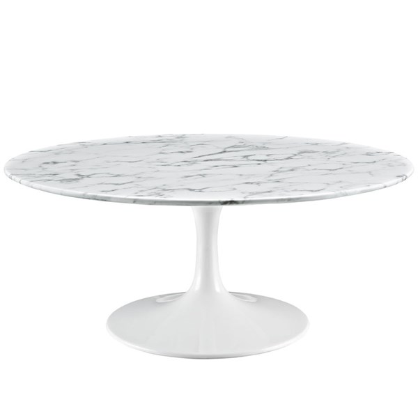 Lippa Traditional White Marble Aluminum 40 Inch Coffee Table EEI-1651-WHI