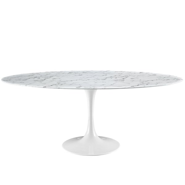 Lippa Traditional White Marble Metal 78 Inch Dining Table EEI-1659-WHI