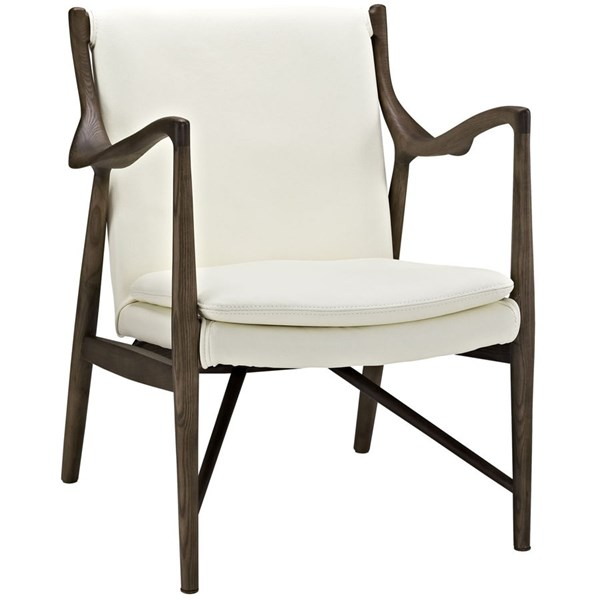Makeshift Walnut Cream Leather Solid Wood Lounge Chair EEI-1663-WAL-CRM