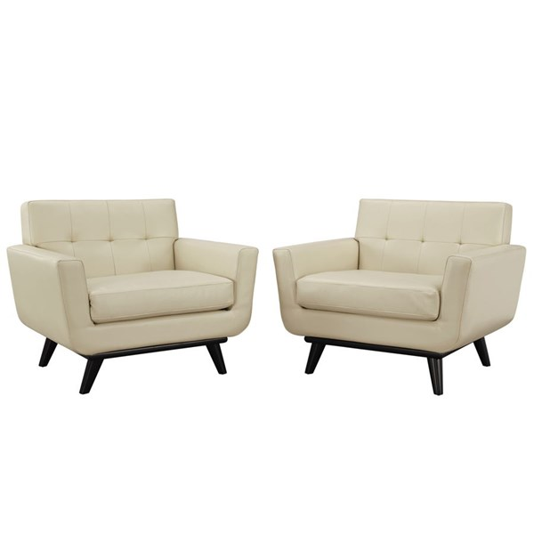 Engage Beige Wood Leather Tufted Back Sofa Sets EEI-1665-SET-VAR