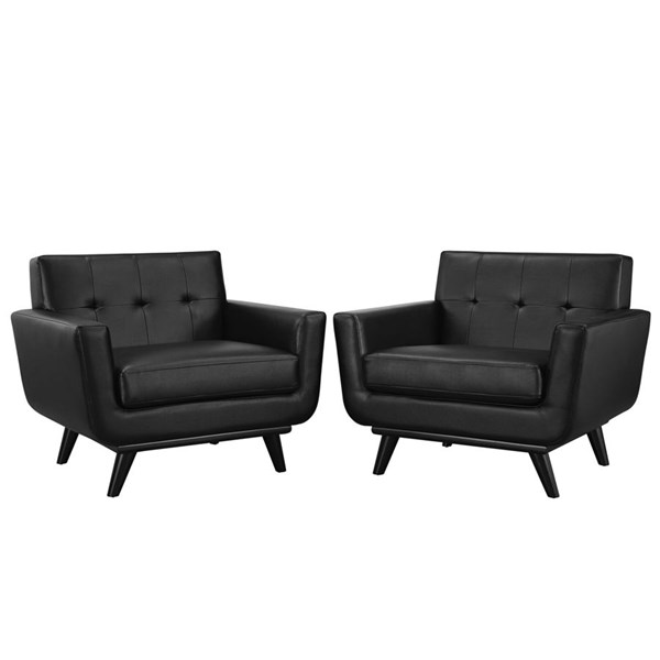 Engage Black Wood Leather Tufted Back Sofa Set EEI-1665-BLK-SET