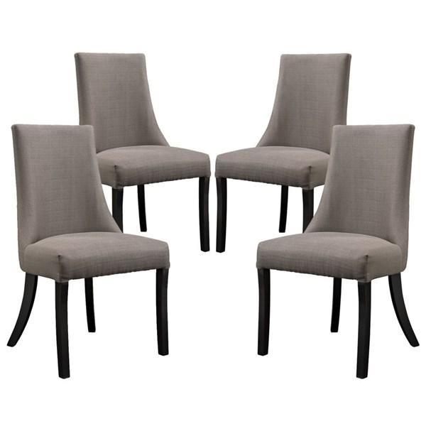 4 Reverie Elegant Gray Wood Dining Side Chairs EEI-1677-GRY