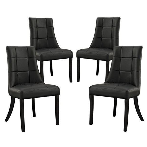4 Noblesse Elegant Black Vinyl Wood Dining Chairs EEI-1678-BLK
