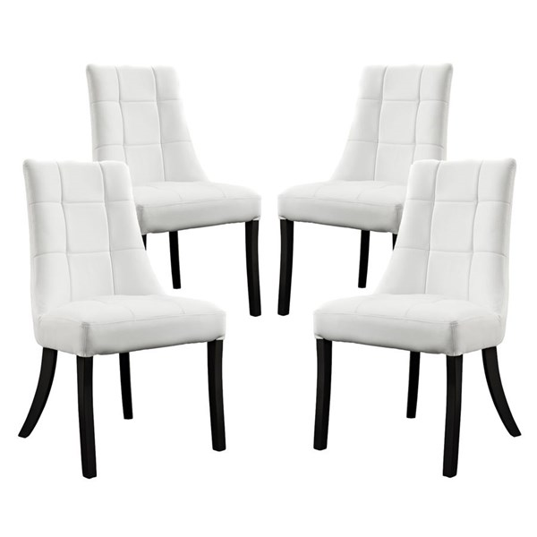 4 Noblesse Elegant White Vinyl Wood Dining Chairs EEI-1678-WHI