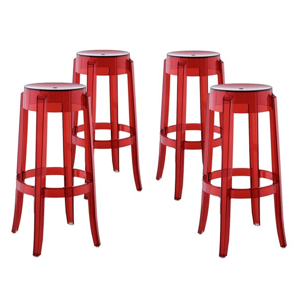 4 Casper Red Polycarbonate Round Bar Stools EEI-1680-RED