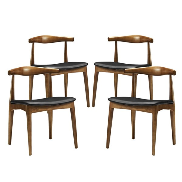 4 Tracy Black Faux Leather Wood Dining Chairs EEI-1682-BLK
