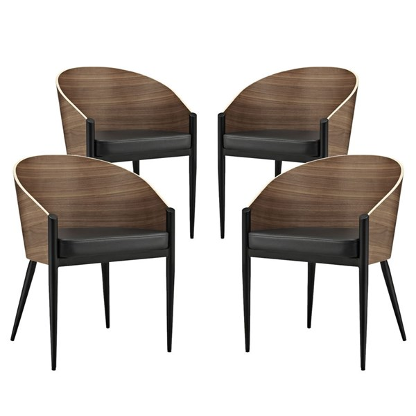4 Cooper Contemporary Walnut Wood Vinyl Dining Chairs EEI-1683-WAL