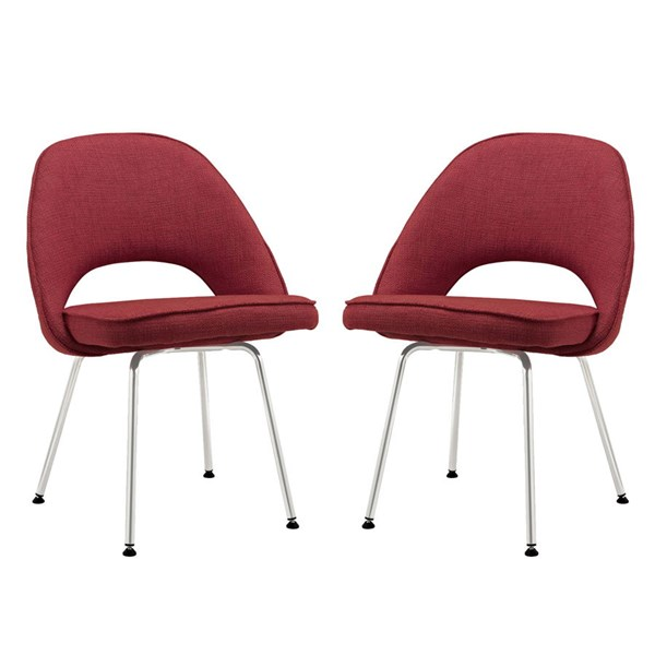 2 Cordelia Red Fabric Keyhole Dining Chairs EEI-1684-RED