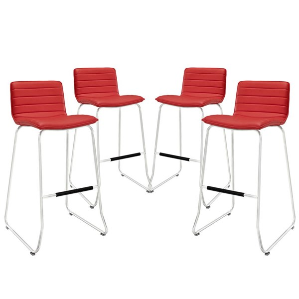 4 Dive Red PU Wood Steel Upholstered Bar Stools EEI-1687-RED