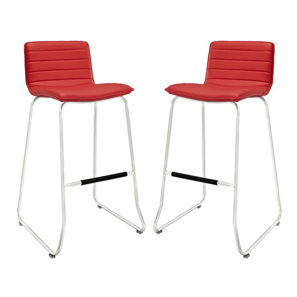 2 Dive Red PU Wood Steel Upholstered Bar Stools EEI-1688-RED