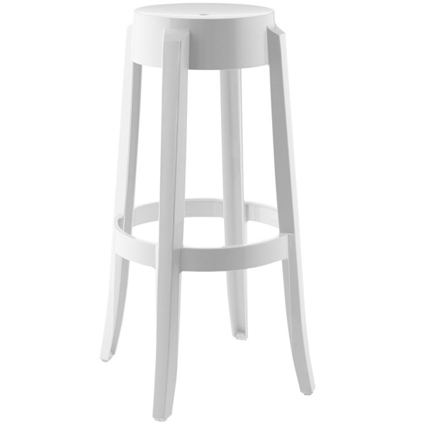 Casper White Polycarbonate Round Bar Stool EEI-170-WHI