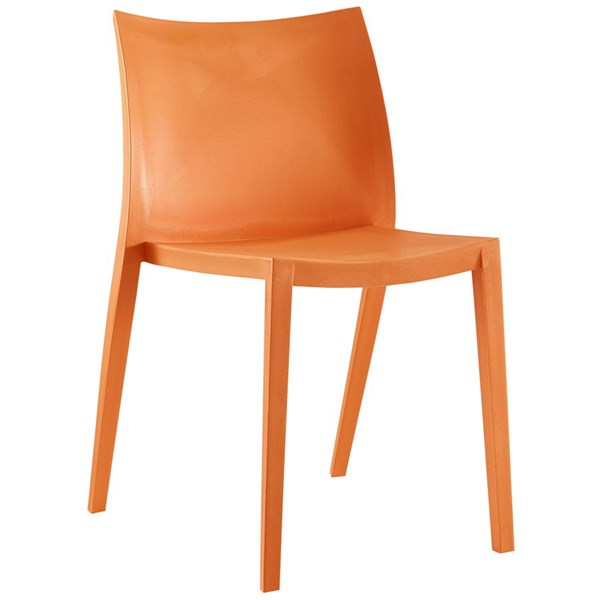 Gallant Modern Orange Plastic Solid Seat Dining Side Chair EEI-1700-ORA
