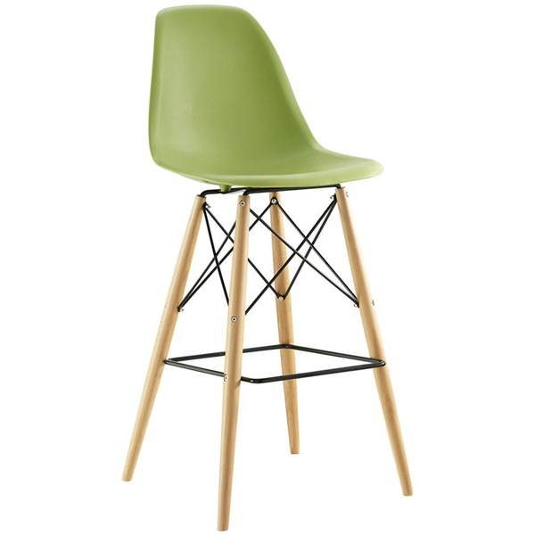 Pyramid Light Green ABS Plastic Wood Steel Dining Side Bar Stool EEI-1701-LGN