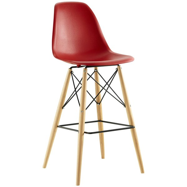 Pyramid Modern Red ABS Plastic Wood Steel Dining Side Bar Stool EEI-1701-RED