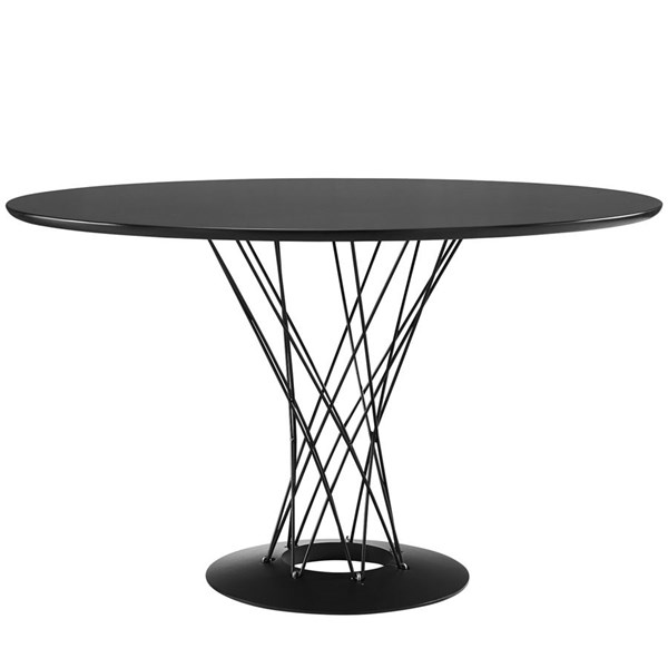 Cyclone Modern Black Steel Wood Top Dining Table EEI-1713-BLK