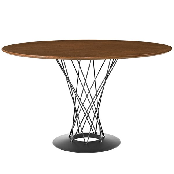 Cyclone Modern Walnut Wood Top Steel Base Round Dining Table EEI-1713-WAL