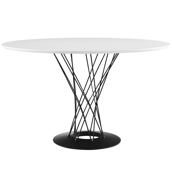Cyclone Modern White Steel Wood Top Dining Table EEI-1713-WHI
