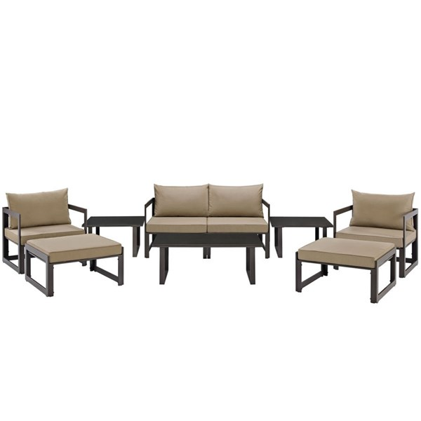 Fortuna Brown Mocha Fabric Glass 9pc Outdoor Patio Sofa Set EEI-1719-BRN-MOC-SET
