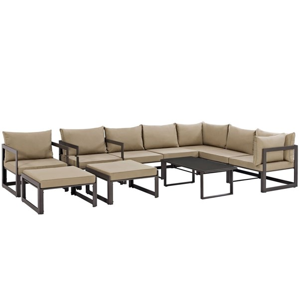 Modway Furniture Fortuna Brown Mocha 10pc Outdoor Sofa Set EEI-1720-BRN-MOC-SET