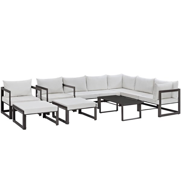 Fortuna Brown White Fabric Glass 10pc Outdoor Patio Sofa Set EEI-1720-BRN-WHI-SET