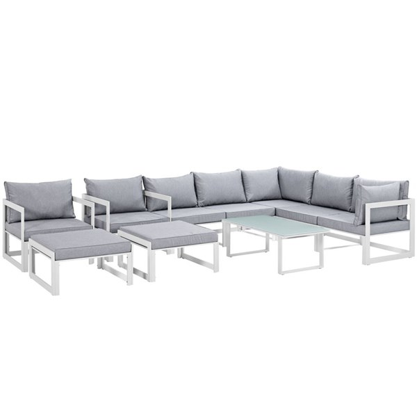 Fortuna White Gray Fabric Glass 10pc Outdoor Patio Sofa Set EEI-1720-WHI-GRY-SET