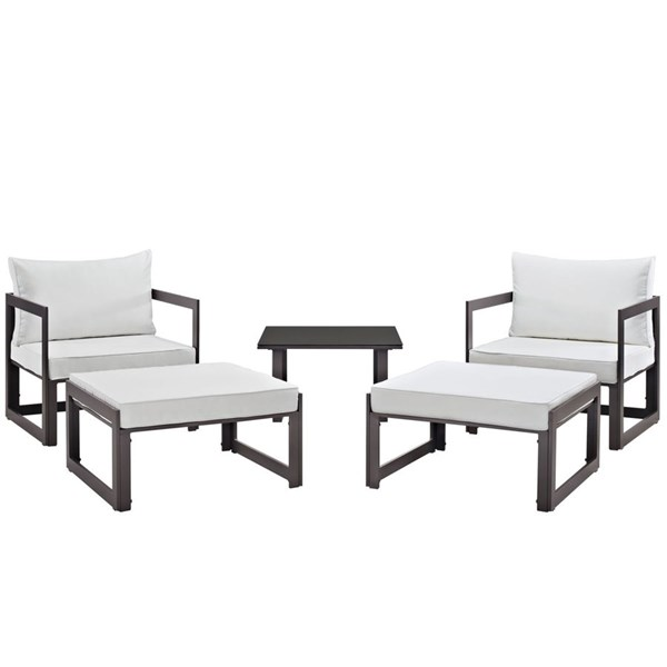 Modway Furniture Fortuna Brown White 5pc Outdoor Chair and Ottoman Set EEI-1721-BRN-WHI-SET