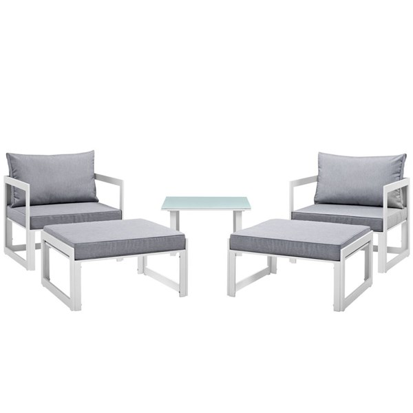 Fortuna White Gray Fabric Glass 5pc Outdoor Patio Chair & Ottoman Set EEI-1721-WHI-GRY-SET