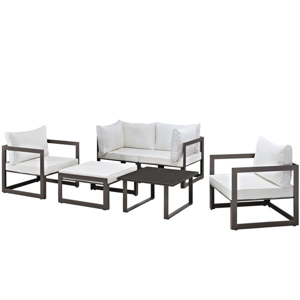 Modway Furniture Fortuna Brown White 6pc Outdoor Sofa Set EEI-1723-BRN-WHI-SET