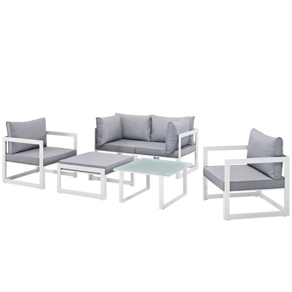 Fortuna White Gray Fabric Glass 6pc Outdoor Sofa Set EEI-1723-WHI-GRY-SET