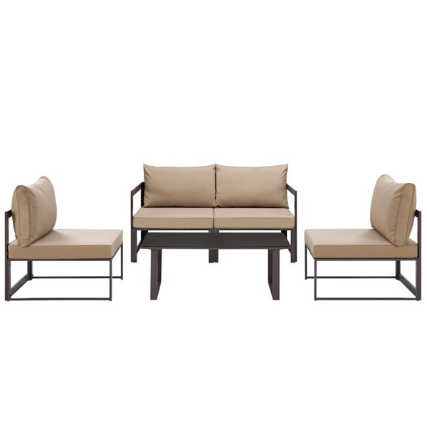 Fortuna Brown Mocha Fabric Glass 5pc Outdoor Patio Sofa Set EEI-1724-BRN-MOC-SET