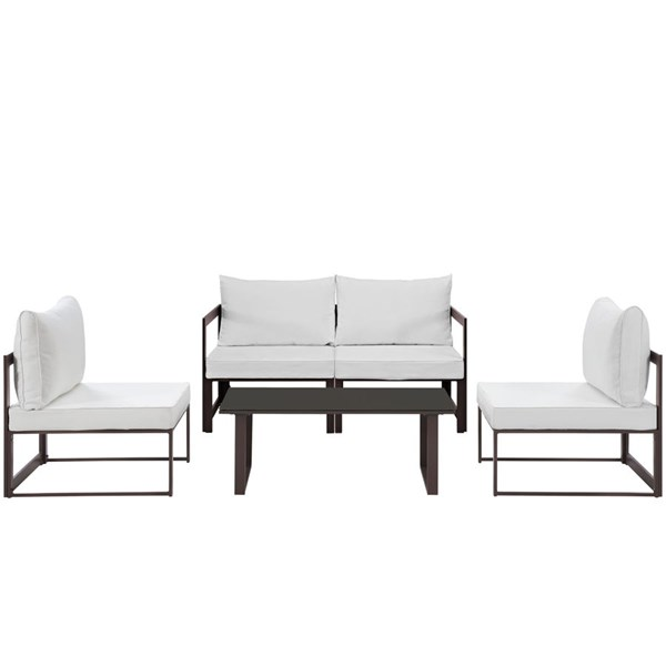 Fortuna Brown White Fabric Glass 5pc Outdoor Patio Sofa Set EEI-1724-BRN-WHI-SET