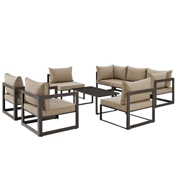 Fortuna Brown Fabric Glass 8pc Outdoor Patio Sofa Sets EEI-1725-OS-SS-VAR
