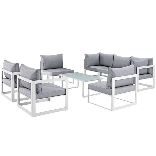 Modway Furniture Fortuna White Gray 8pc Outdoor Sofa Set EEI-1725-WHI-GRY-SET
