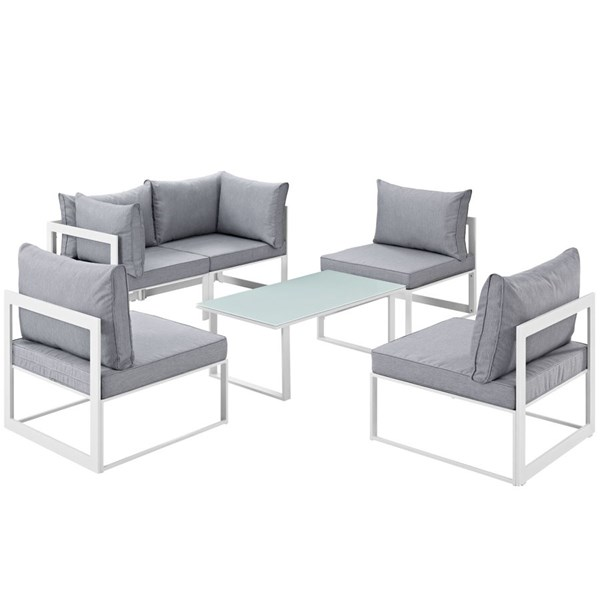 Modway Furniture Fortuna White Gray 6pc Outdoor Patio Sofa Set EEI-1726-WHI-GRY-SET