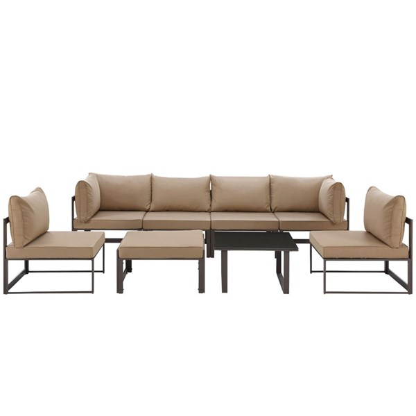 Fortuna Brown Mocha Fabric Glass 8pc Outdoor Sofa Sets EEI-1728-OS-SS-VAR