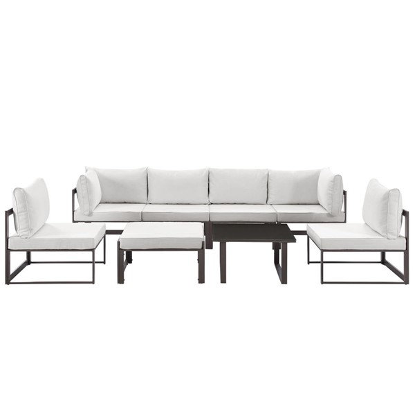 Modway Furniture Fortuna Brown White 8pc Outdoor Patio Sofa Set EEI-1728-BRN-WHI-SET