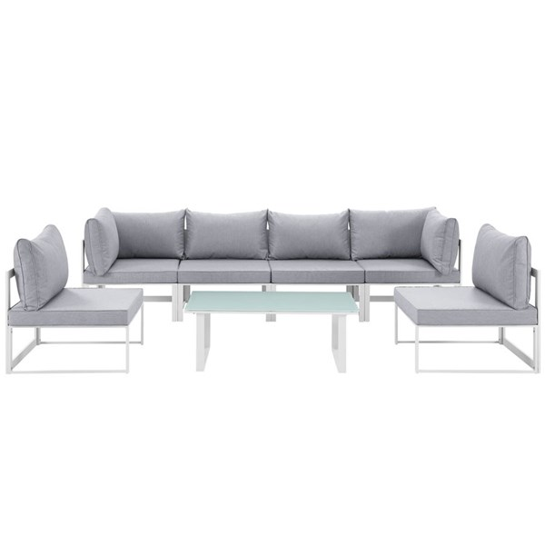 Modway Furniture Fortuna White Gray 7pc Outdoor Sofa Set EEI-1729-WHI-GRY-SET