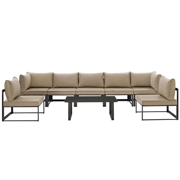 Modway Furniture Fortuna Brown Mocha 8pc Outdoor Sectional Sofa Set EEI-1730-BRN-MOC-SET
