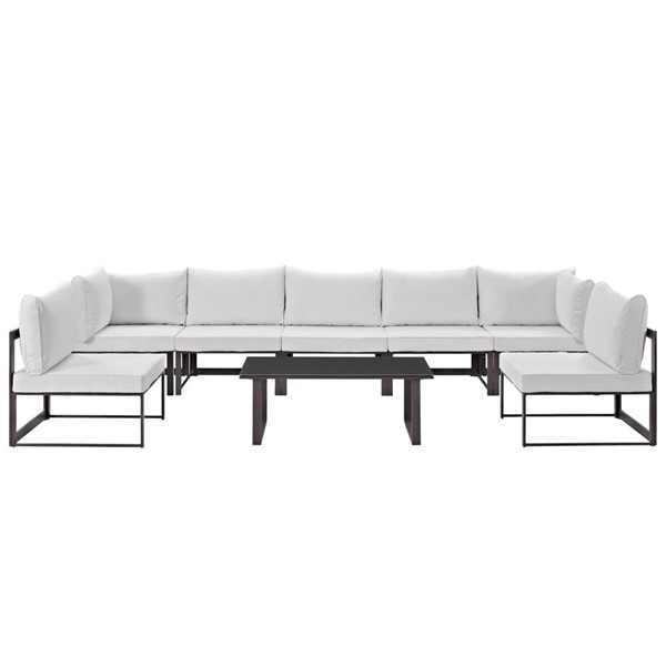 Fortuna Brown White Fabric 8pc Outdoor Sofa Set EEI-1730-BRN-WHI-SET