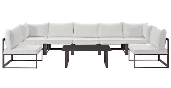 Modway Furniture Fortuna Brown White 8pc Outdoor Sectional Sofa Set EEI-1730-BRN-WHI-SET