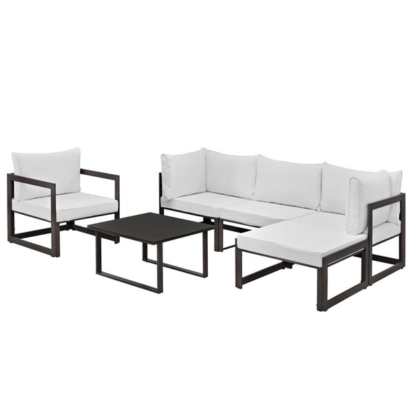 Modway Furniture Fortuna Brown White 6pc Outdoor Sectional Sofa Set EEI-1731-BRN-WHI-SET