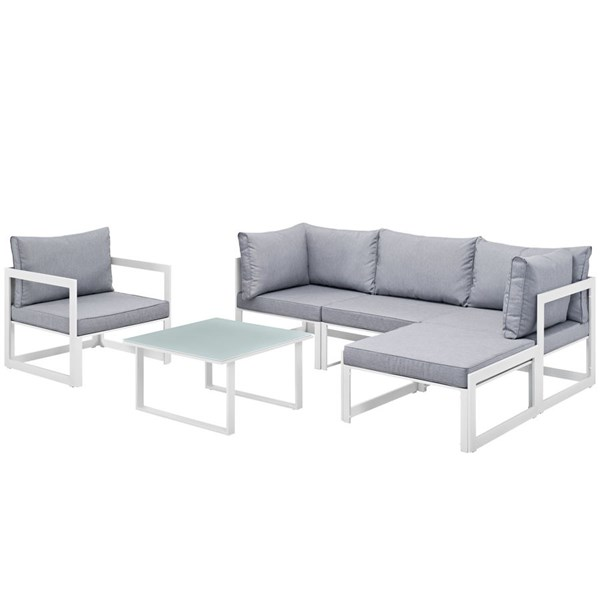 Modway Furniture Fortuna White Gray 6pc Outdoor Sectional Sofa Set EEI-1731-WHI-GRY-SET