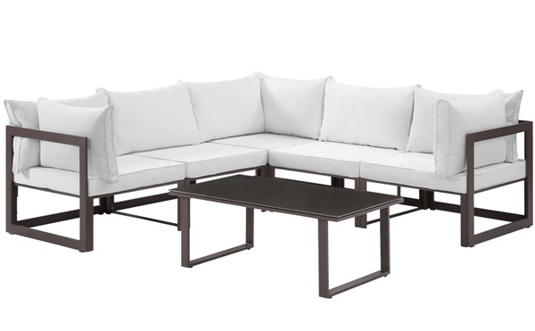 Modway Furniture Fortuna Brown White 6pc Outdoor Patio Sectional Sofa Set EEI-1732-BRN-WHI-SET