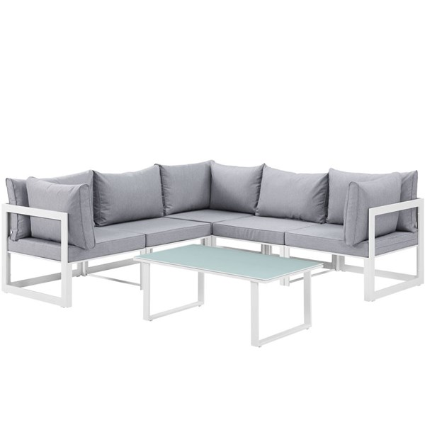 Modway Furniture Fortuna White Gray 6pc Outdoor Patio Sectional Sofa Set EEI-1732-WHI-GRY-SET