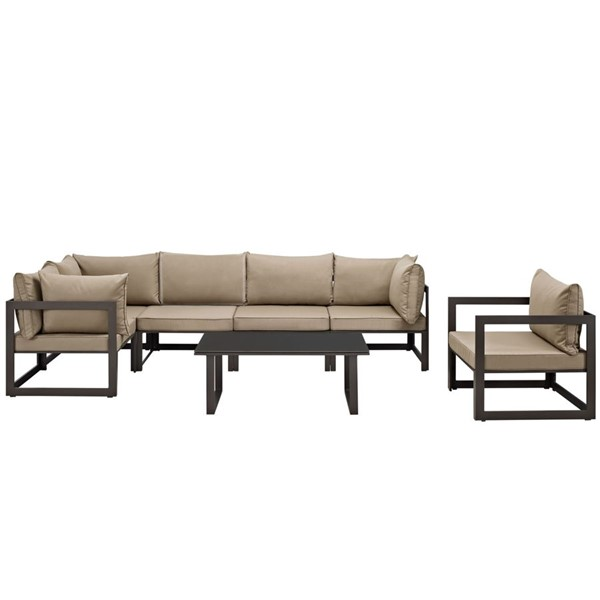 Fortuna Brown Mocha Fabric 7pc Outdoor Patio Sofa Sets EEI-1733-OS-SS-VAR