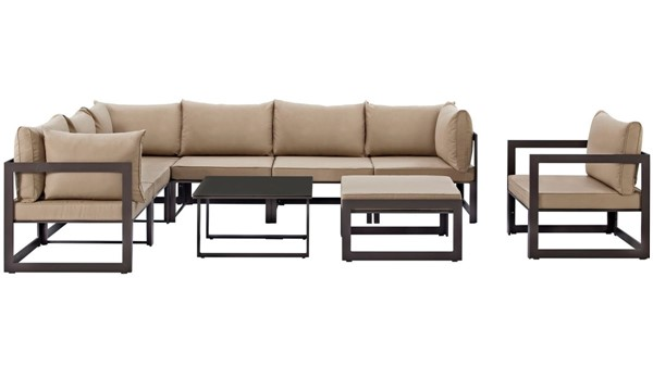 Modway Furniture Fortuna Brown Mocha 9pc Outdoor Sectional Set EEI-1734-BRN-MOC-SET
