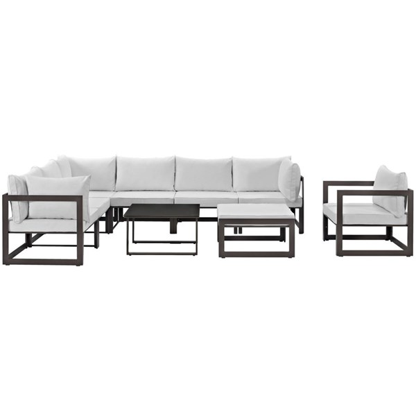 Fortuna Brown White Fabric Glass 9pc Outdoor Patio Sectional Set EEI-1734-BRN-WHI-SET
