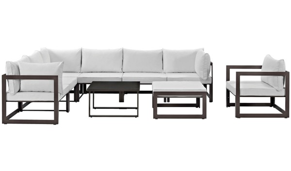 Modway Furniture Fortuna Brown White 9pc Outdoor Sectional Set EEI-1734-BRN-WHI-SET
