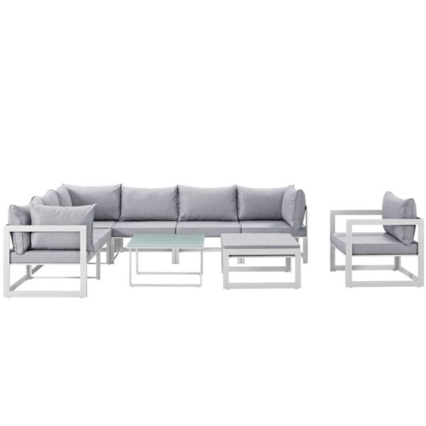 Fortuna White Gray Fabric Glass 9pc Outdoor Patio Sectional Set EEI-1734-WHI-GRY-SET
